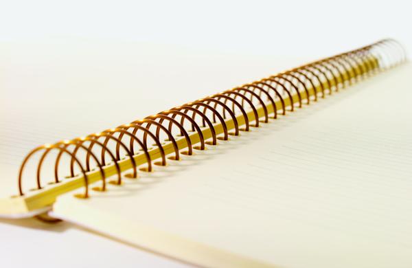 Spiralheftung eines Spiralblocks